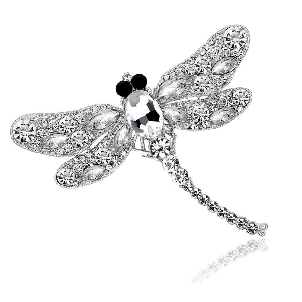 Crystal Rhinestone Dragonfly Brooch Pin Jewelry Birthday Gifts (White)