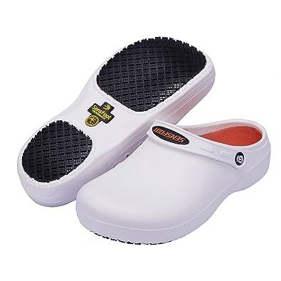 460b5e42c7c8 YOWESHOP Slip Resistant Chef Clogs - Kitchen Non Slip Work Shoes White for Men  Women (