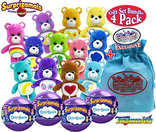 Surprizamals Care Bears Stuffed Animals Surprise Mystery Plush in a Ball Gift Set Party Bundle with Exclusive Matty's Toy Stop Storage Bag - 4 Pack (Assorted) - Care Bears Stuffed Animals