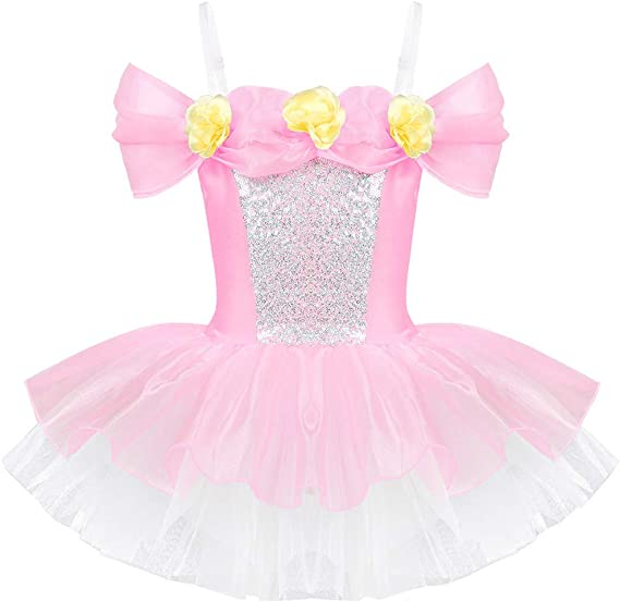 inhzoy Vestido de Danza Ballet Niña 3-8 Años Hombro Descubierto ...