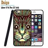 iPhone 6S Plus Case, iPhone 6 Plus Case, Dsigo TPU Black Full Cover Protective Case for New Apple iPhone 6/6S Plus 5.5 inch - Retro Vintage Aztec totem cat