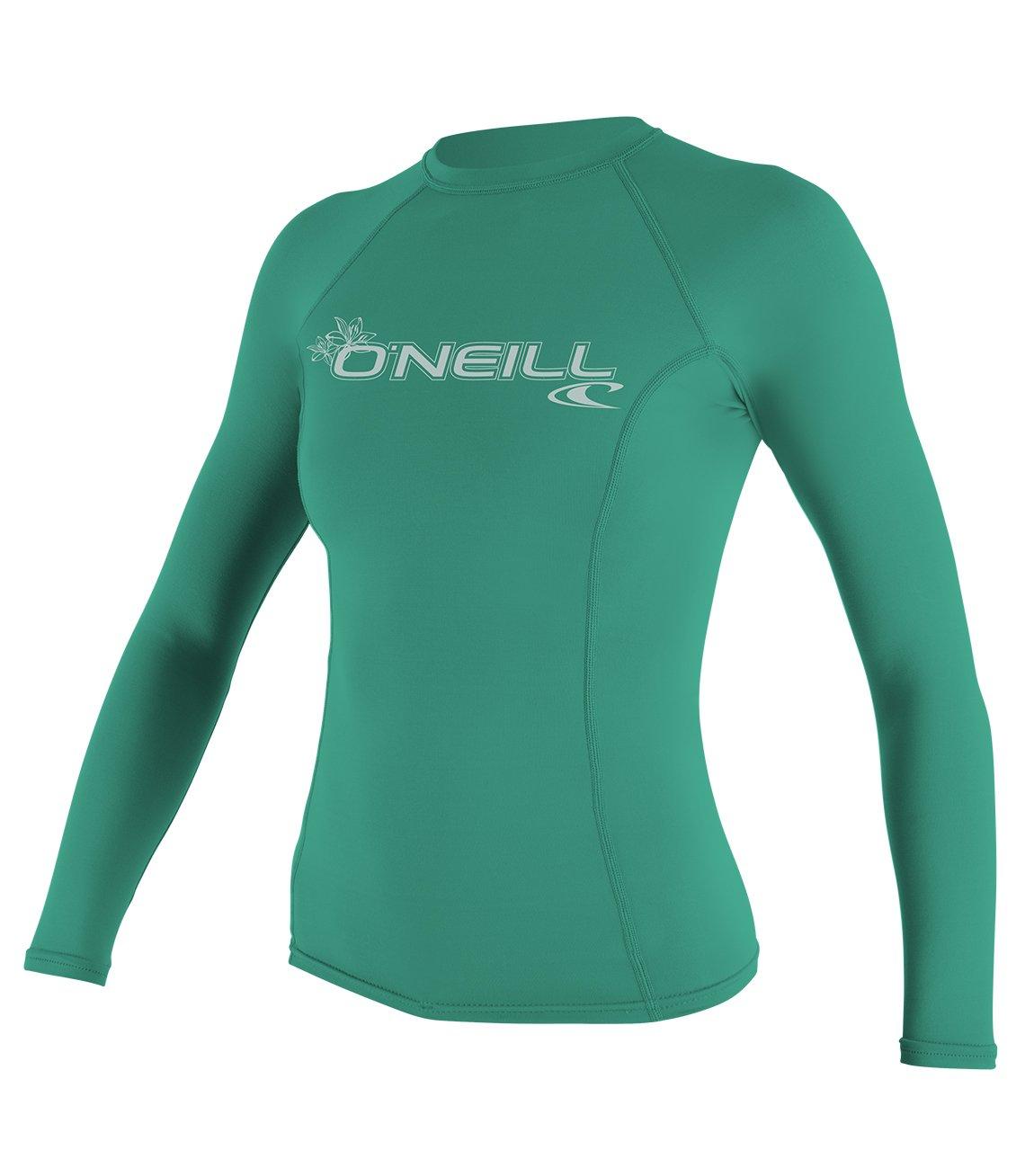 O'Neill Wetsuits UV Sun Protection Womens Basic Skins Long Sleeve Crew Sun Shirt Rash Guard, Seaglass, X-Small