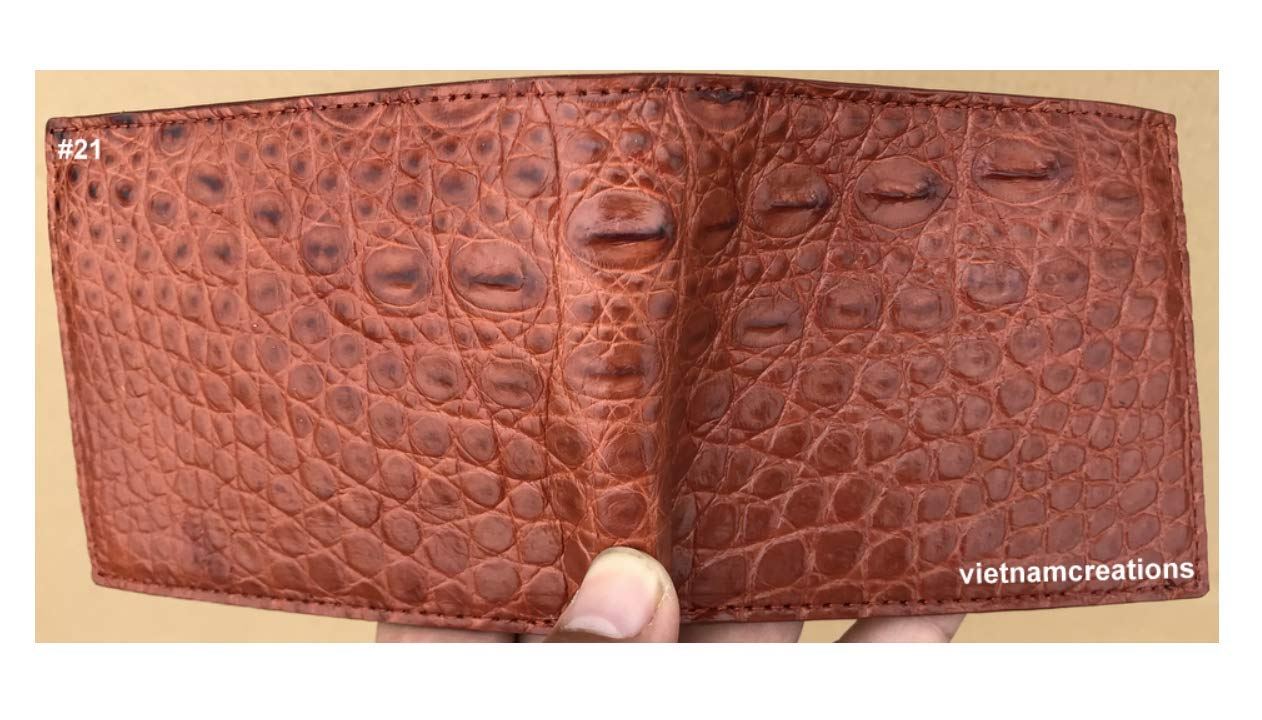 Vietnamcreations RFID Blocking Genuine Alligator Crocodile Leather Bifold Wallet for Men Handmade'' Special gift for father brother boyfriend'' (Brown, 4.7'' Closed Length x 3.7'' Width) #21