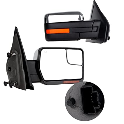 SCITOO Towing Mirrors fit 2007-2014 F-150 Blind Spot Mirror Power Heated Chrome Puddle Signal Double Glass Driver Side
