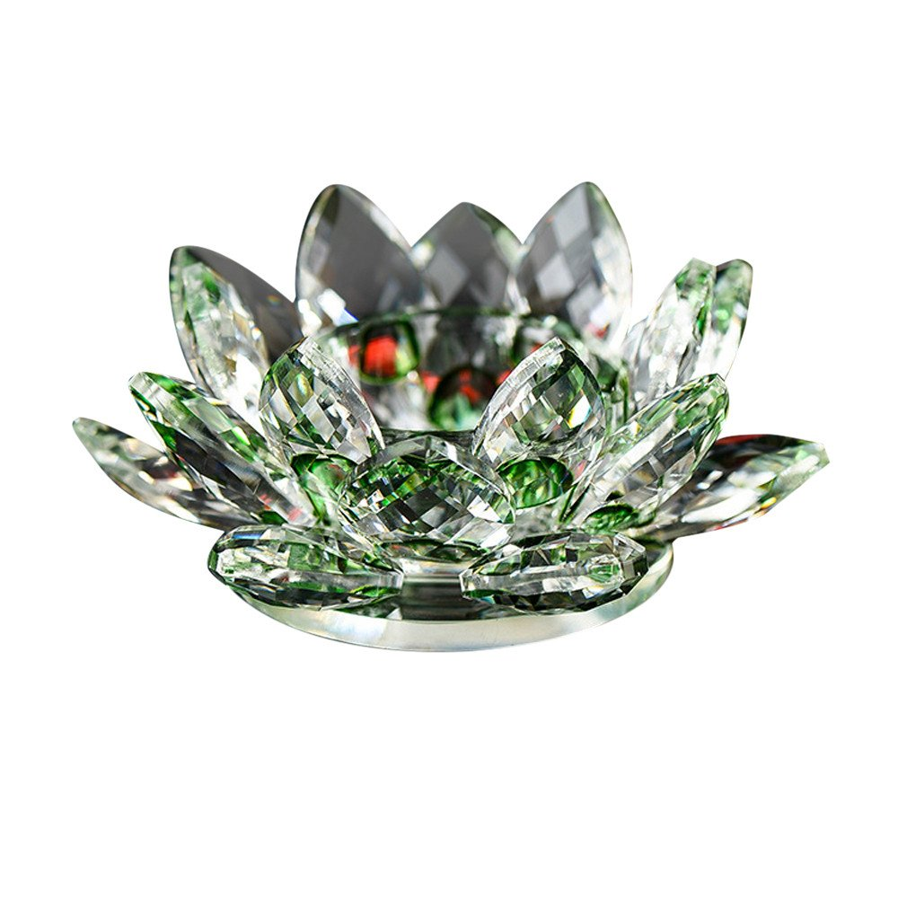 Iusun Christmas 7 Colors Lotus Flower Candle Light Crystal Glass Tea Light Holder Candlestick for Hanging Party Festival Home Wedding Bar Decor (Green)