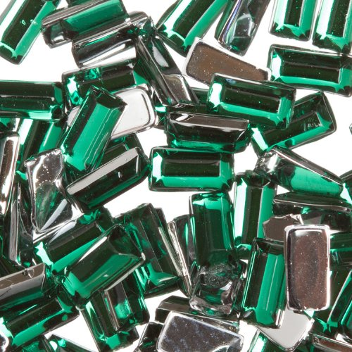 Zink Color Nail Art Acrylic Rhinestone Green Rectangle 100 Pieces Embellishment