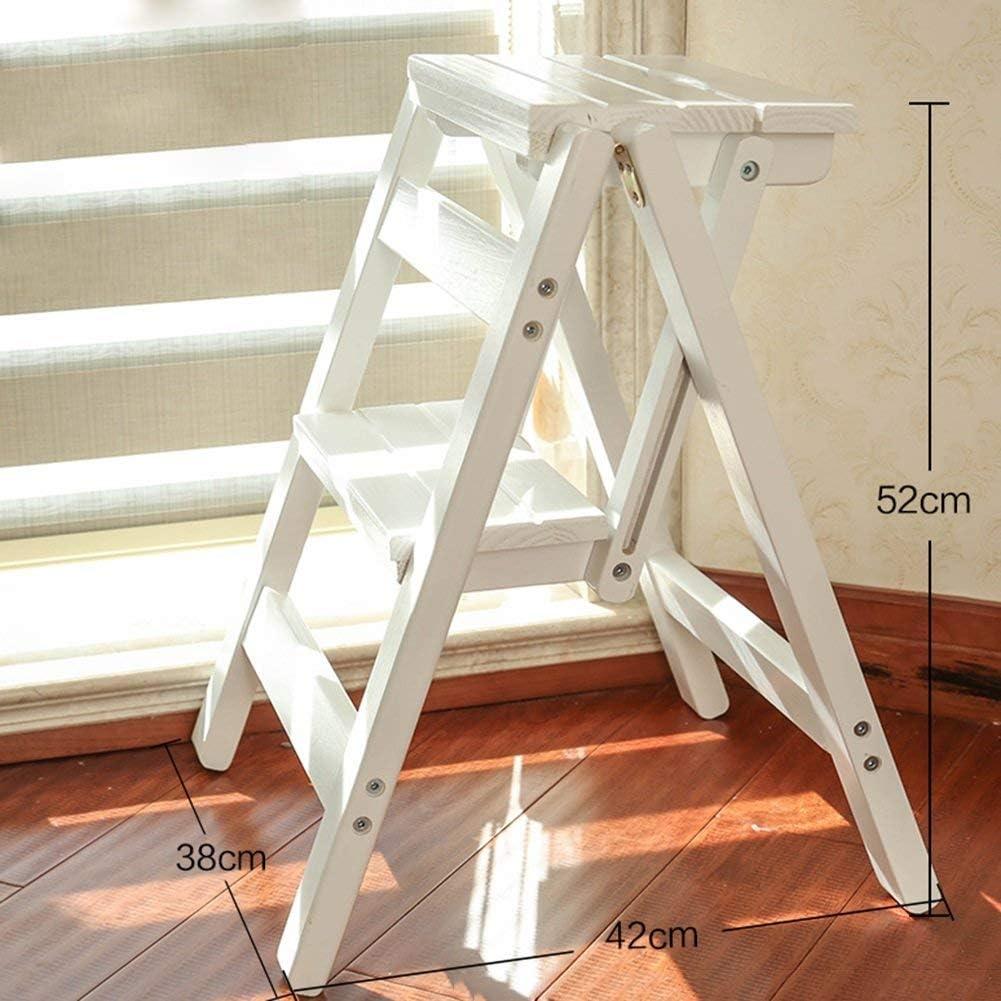 MultifuncióN Estante Almacenamiento Baldas Taburete de escalera de madera maciza de 2 escalones, silla de escalera plegable multifunción for el hogar for niños adultos, estante de flores portátil de i: Amazon.es: Hogar
