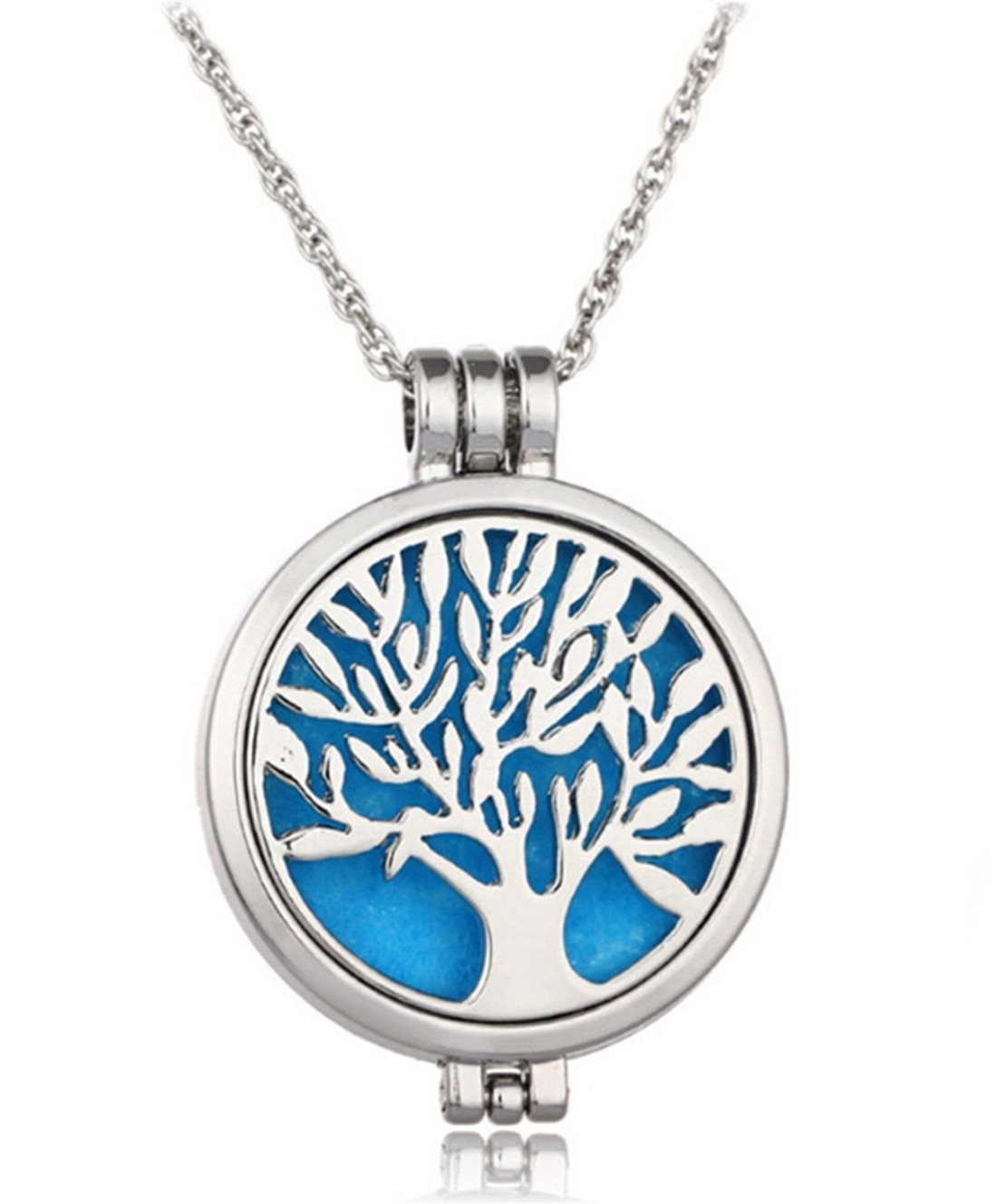 VWH Stainless Steel Aromatherapy Perfume Essential Oil Fragrance Diffuser Necklace Locket Pendant, Tree of Life