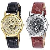 Navion Men's Mechanical Stainless Gold Silver Elegant Skeleton Dial Wrist Watch 2 Pack