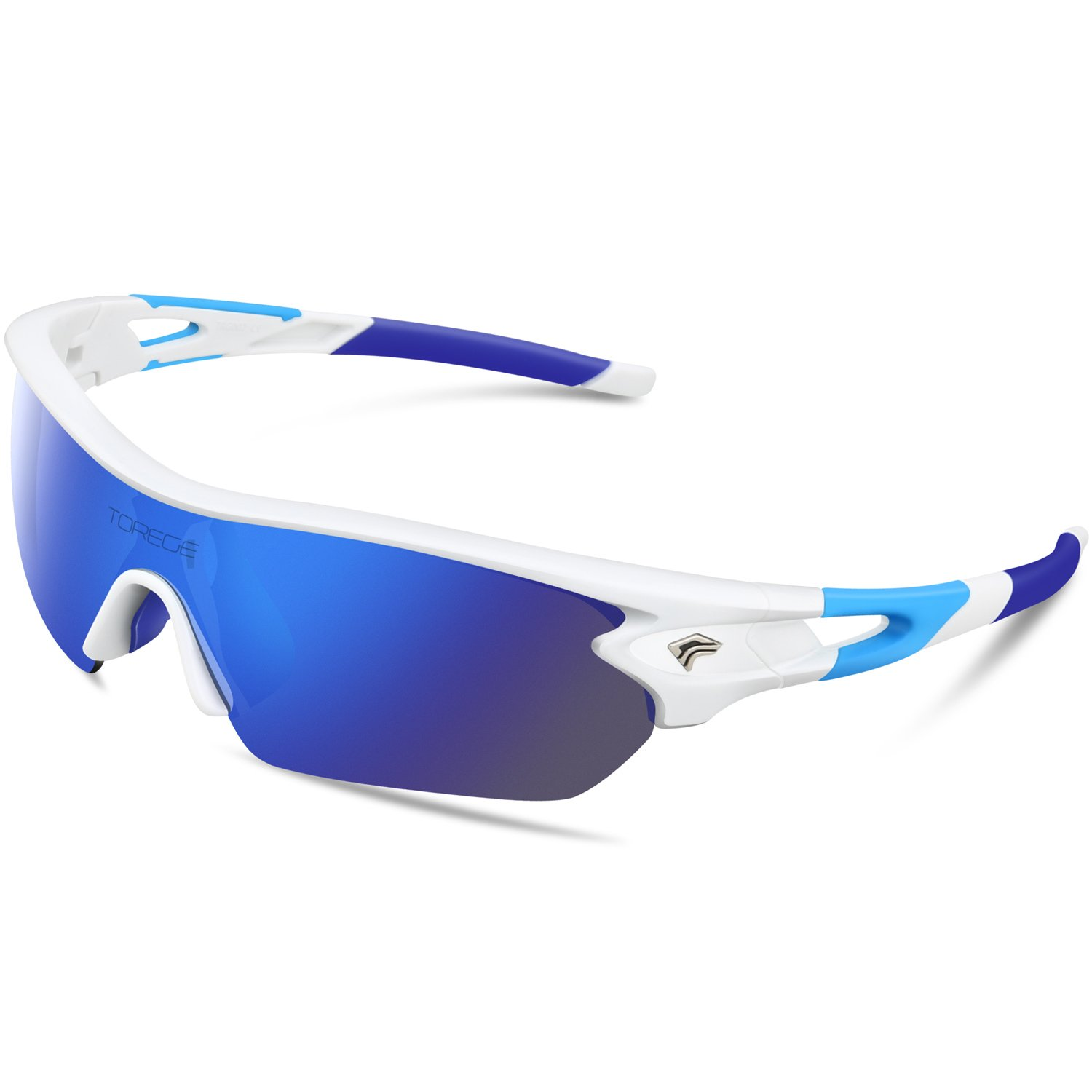 TOREGE Polarized Sports Sunglasses with 5 Interchangeable Lenes for Men Women Cycling Running Driving Fishing Golf Baseball Glasses TR002 (White&Blue) by TOREGE
