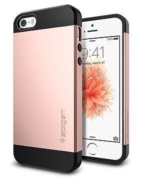 iPhone SE Hülle, Spigen® iPhone 5S/5/SE Hülle [Slim Armor] Dual-Layer Schutz [Rose Gold] Luftpolster-Technologie an den Kante