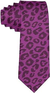 Corbata flaca de seda de leopardo morado con guepardo unisex ...