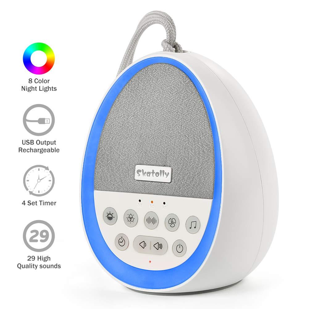 Skatolly Baby White Noise Machine, Portable Sleep Sound Machine with Blending LED Lights, All Night White Noise Machine Suitable for Kids and Adults (Mix Color Noise Machine) by Skatolly
