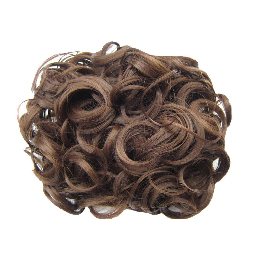 PrettyWit Hair Bun Extension Short Messy Curly Easy Stretch Hair Combs Clip in Ponytail Extension Scrunchie Chignon Hairpieces-Pale Golden Blonde & Bleach Blonde 24T613