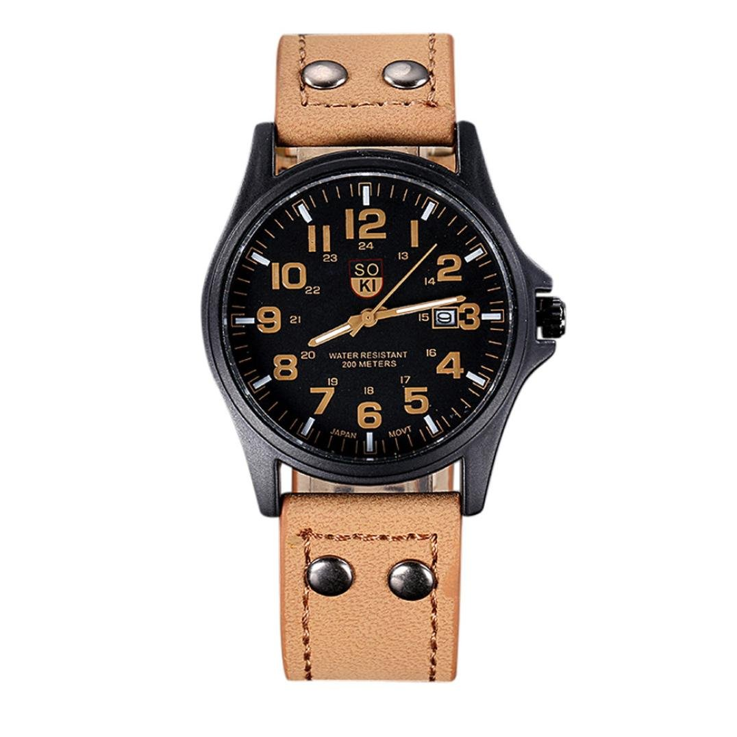 Quaanti Men's Watches Top Brand Luxury Vintage Classic Men Waterproof Date Leather Strap Sport Quartz Army Wrist Watch Relogio Masculino (Khaki)