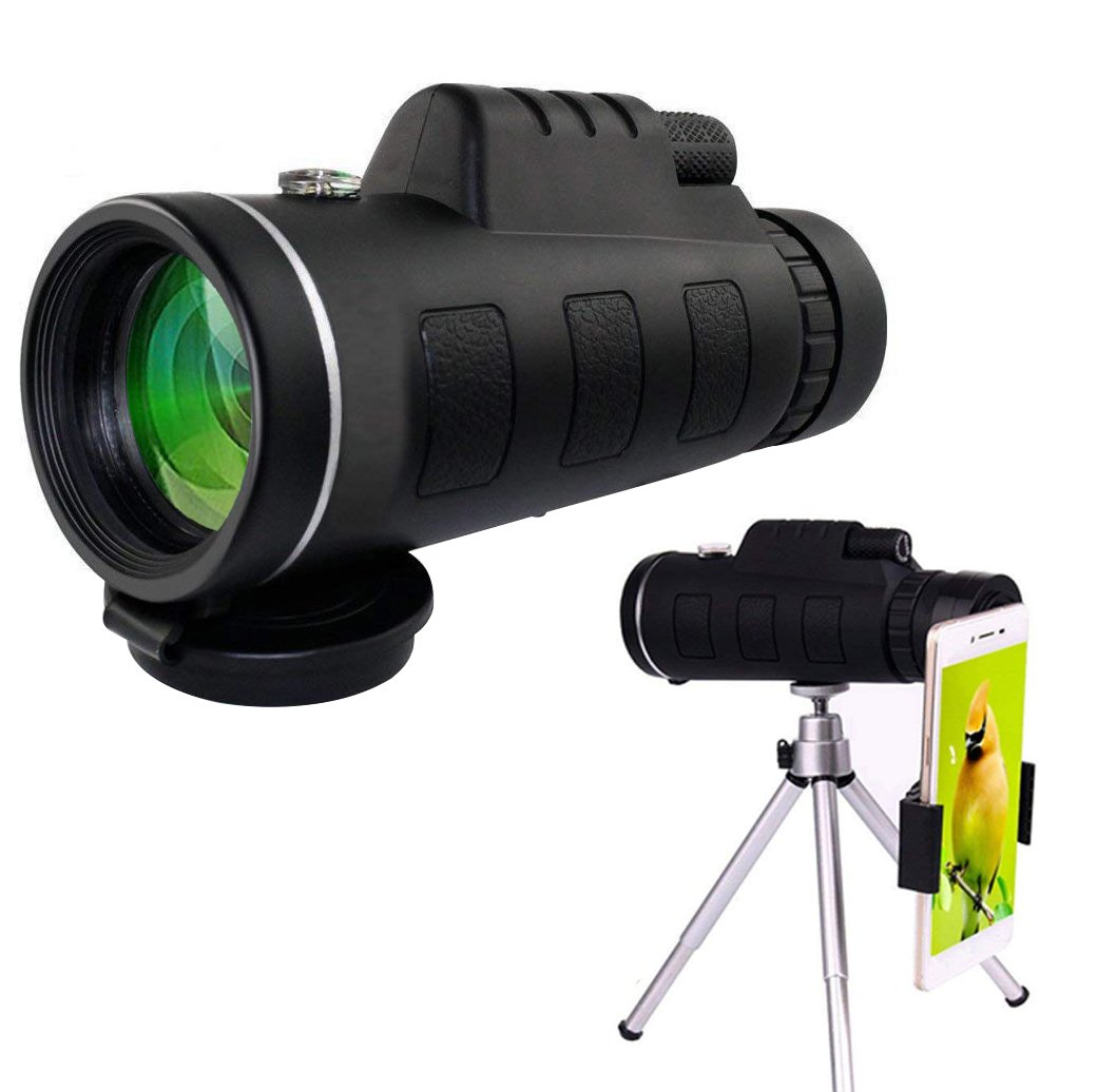 Monocular Dual Focus Optics Zoom 12X50 Single-tube Telescope Waterproof Wide Angle Lens With Tripod For Phone Bird Watching Camping Hiking Hunting Live Concert Surveillance