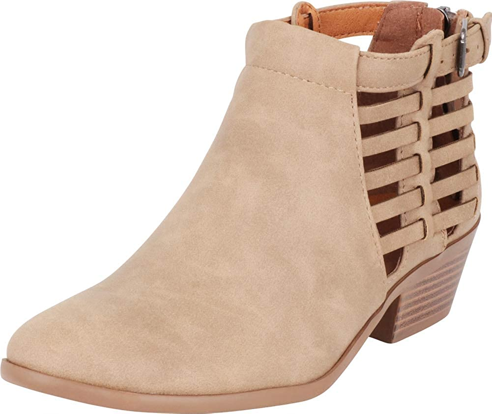 Light Taupe Pu Cambridge Select Women's Strappy Buckle Cutout Caged Stacked Low Heel Ankle Bootie