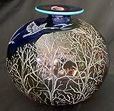 Hand Engraved Vintage Transjo Vase, Birds, Trees, Home Decor vase, Floral Vase, Flowers, Engraved