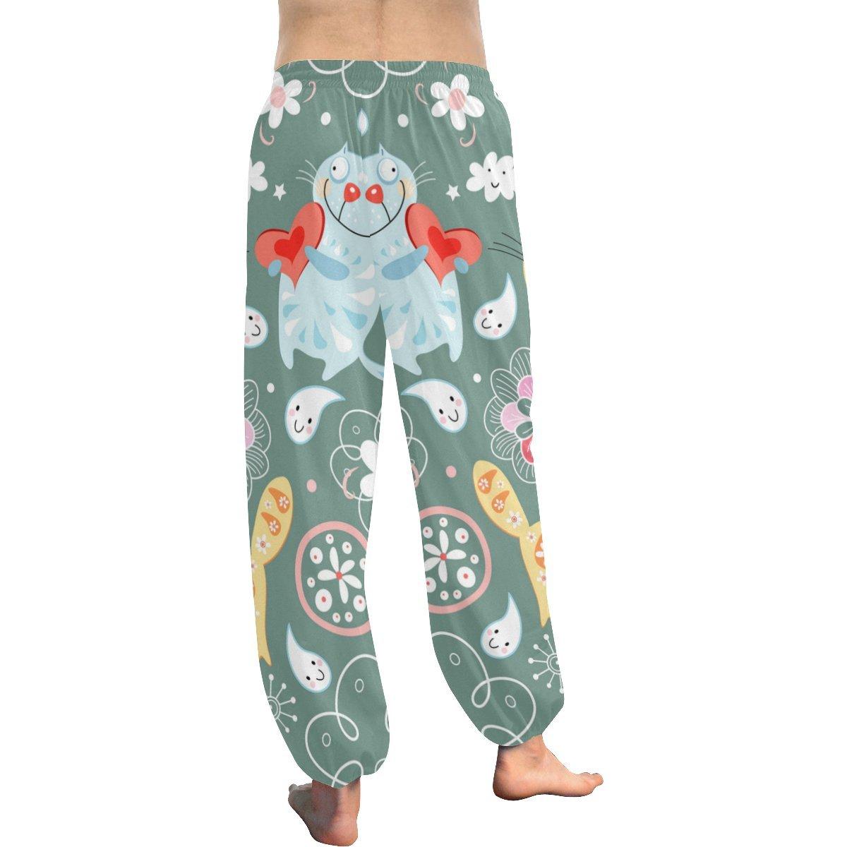 Cute Cartoon Cat Pattern Print Womens Yoga Harem Pants
