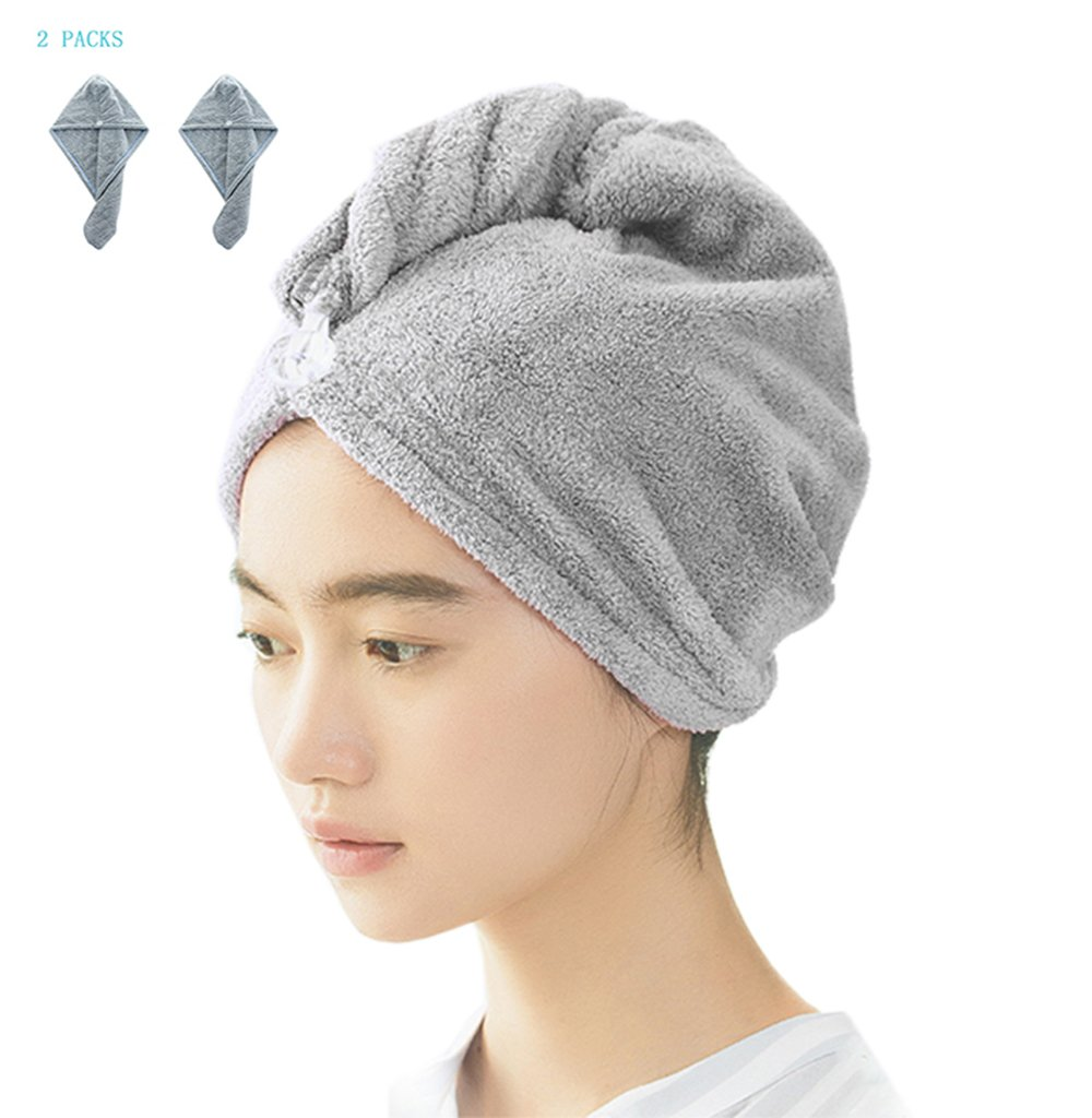 "PRIMA Women's Microfiber Quick Drying Hair Towel, Ultra Absorbent & Fast Men's Drying Hair Turban Wraps Hat For Anti-Frizz(25.6""x9.8"") Grey 2 Pack"