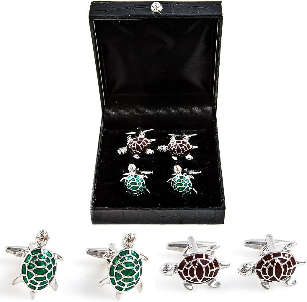 MRCUFF Turtle Tortoise 2 Pairs Cufflinks in a Presentation Gift Box & Polishing Cloth