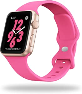STG Sport Watch Band Compatible with Apple Watch Band 38mm 40mm 42mm 44mm, Soft Silicone Replacement Sport Strap Compatible for iWatch SE Series 6/5/4/3/2/1 (38/40mm, Barbie Pink)
