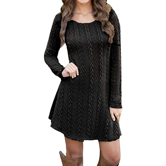 4f82f592a8319 Ulanda Elegant Tunic Sweater Dresses for Women, Long Sleeve Crewneck Knit  Pullover Sweater Mini Dress