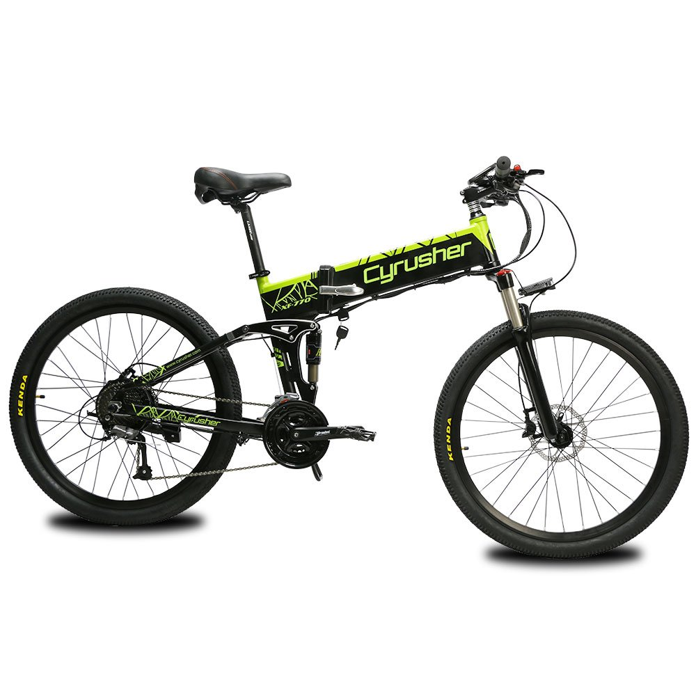 6eb5524e455 Cyrusher XF770 Folding Electric Bike 500W 250W Mountain Bicycle Full  Suspension 48V 10AH Hidden Battery Shimano 27 Speeds with Hydraulic Disc  Brake