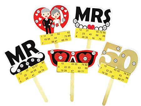 50th Anniversary Themed Tambola Tickets Made by Smriti Singhania (15pc Set) Ideal for Parties and Anniversary