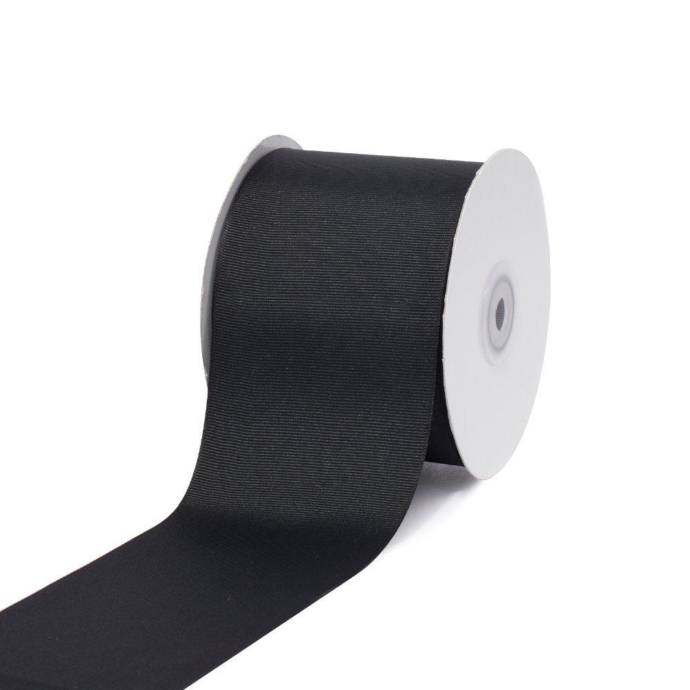 """Creative Ideas, 3"""" Inch Solid Grosgrain Ribbon, 25 Yards, Black, 25 yd"""