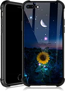 iPhone 8 Plus Case,Sunflower Moon Star Sky iPhone 7 Plus Cases for Girls,Tempered Glass Back Cover Anti Scratch Reinforced Corners Case for iPhone 7/8 Plus