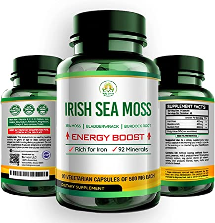 Kiki Green Sea Moss Capsules - Irish Sea Moss Bladderwrack and Burdock Root Supplement by dr Sebi 1000mg - Joint, Digestive Health, Thyroid, Healthy Skin, Gut & Immune Support – 90 Veggie Capsules