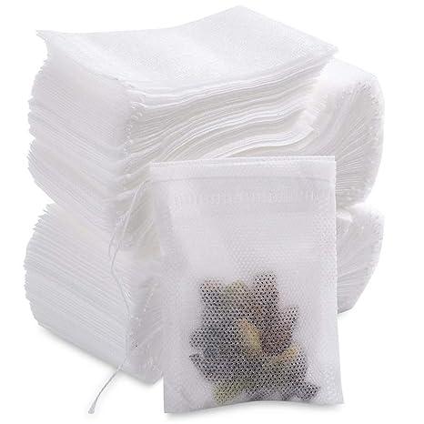 MUXItrade Bolsita de te de Filtro, 200 Piezas Bolsas Bolsita de té de Papel Desechable, 7 * 9CM