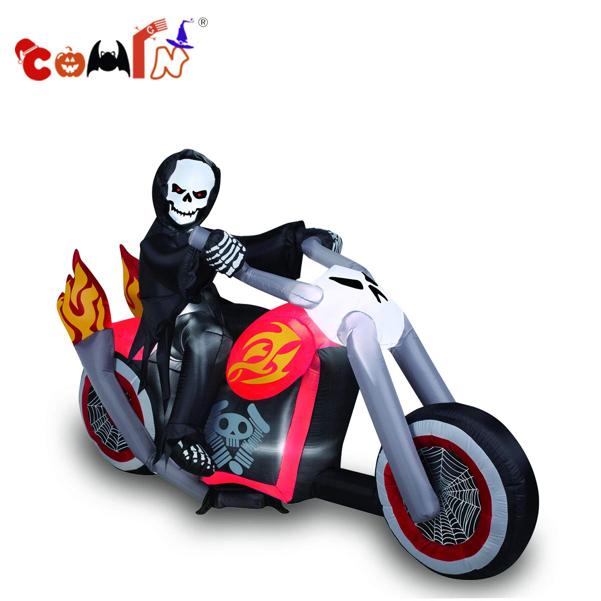 COMIN.NET Halloween Inflatables Blow up Grim Reaper on Motorcycle for Halloween Outdoor Decoration 6ft Long