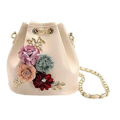Felice Women Girls Flower Inlaid Drawstring Handbag Mini Bucket Purse Small  Cross-body Bag (