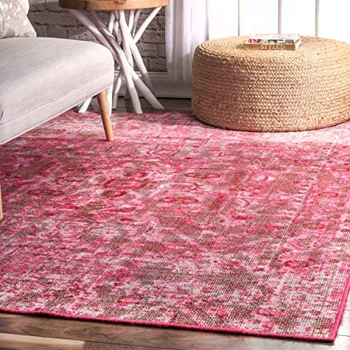 nuLOOM Trish Vintage Medallion Indoor Outdoor Rug, 5 x 8 , Pink