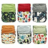 Hook-and-Loop All-in-one AIO Cloth Diapers w/ Pocket, Charcoal Bamboo, 6-pack Bundle + 6 Inserts (Boy)