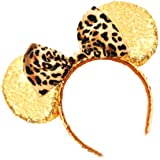 Mouse Ears Bow Headbands Glitter Princess Party Decoration Belle Cinderella Jasmine Mermaid Mouse Ears Headband for Girls (Gold with leopard print)