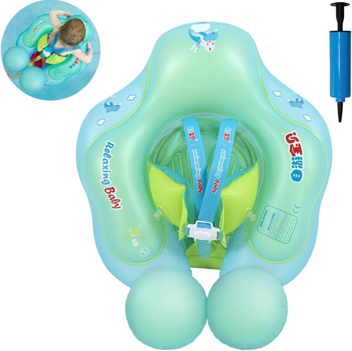 Myir Flotador bebé, Anillo de Natación para bebés de Piscina Flotador Inflable para Niños Flotador de Natación Nadar Anillo Cintura Ajustable (Azul, L)