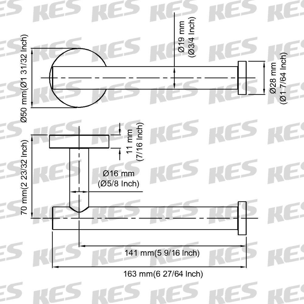 Kes SUS304/en Acier Inoxydable de Salle de Bain WC Support de Papier Toilette et Distributeur de Fixation Murale Noir Mat A2175s12-bk
