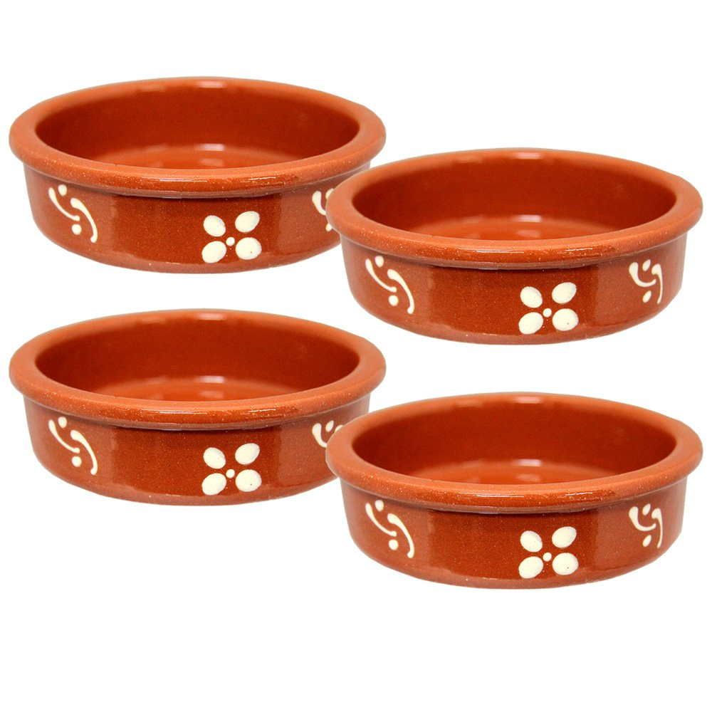 Set of 4 Vintage Portuguese Traditional Clay Terracotta Crème Brûlée Dish Made In Portugal