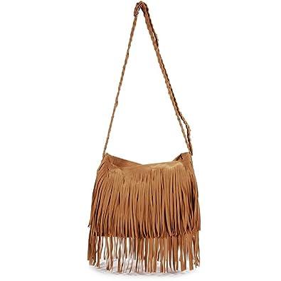 e6d791bba9e5 POPLife Vintage Women s Faux Suede Fringe Tassels Crossbody Bag Shoulder  Bag Cross Body
