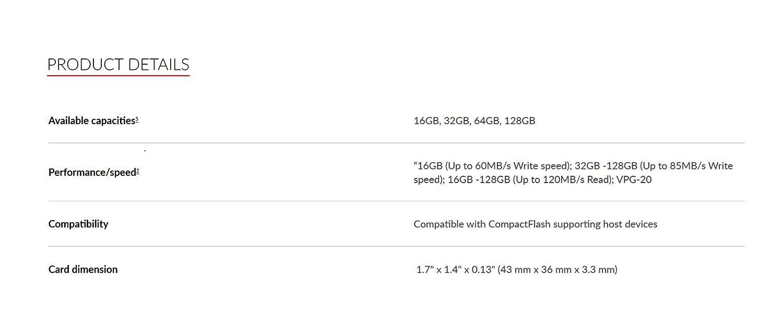SanDisk SDCFXSB-064G-G46 - Tarjeta de Memoria de 64 GB (Velocidad de Lectura de 120 MB/s, Velocidad de Escritura de 85 MB/s, UDMA 7)