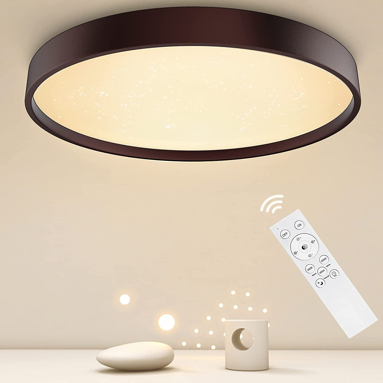 36W Lampara LED Salon Anten NIGHTSKY | Plafones Techo | Ø39cm 3000-6500K Retro Marrón | Regulable con Mando a Distáncia | para Dormitorio, Oficina, Comedor, Cocina, Balcón