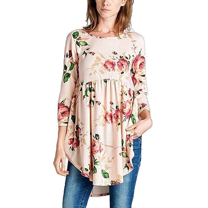 1df80b34501d13 Calflint Women Flower Print Dress 3 4 Sleeves Ruffle A Line Party Dress  Small Size