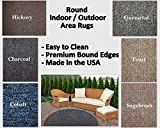 Round Indoor/Outdoor Area Rugs. Perfect for decks, balconies, gazebos, sunrooms, porches and much more. Many Sizes and colors available. (10' Round, Gunmetal)