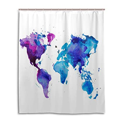 Urban Watercolor World Map.Amazon Com Nymb Urban Watercolor World Map Vector Bath Curtains