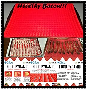 Silicone Food Pyramid Pan Non-stick Healthy Cooking Baking Mat - Breaded or Non Breaded, Crispy, Juicy and Evenly Cooked Food - Easy Clean Up - No BPA