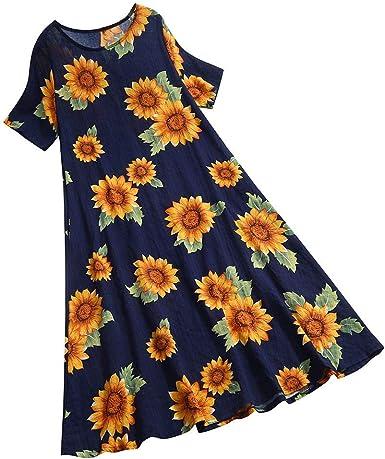 Vestido de Verano para Mujer con Estampado de Girasol, de Lino y ...
