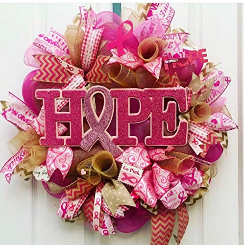 (Cancer wreath, cancer awareness wreath, breast cancer wreath, Hope wreath, awareness wreath, mom wreath )